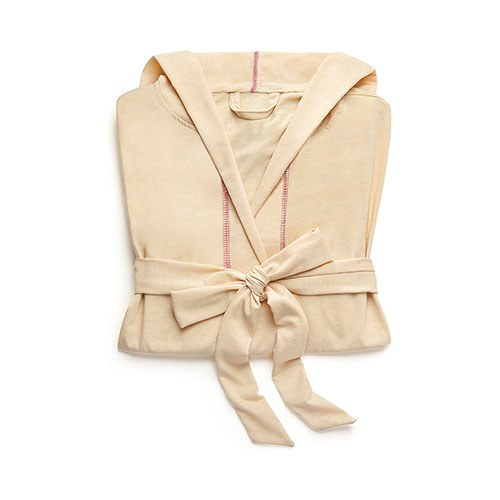 Saturday Hooded Lounge Robe Oatmeal With Pink Stitching