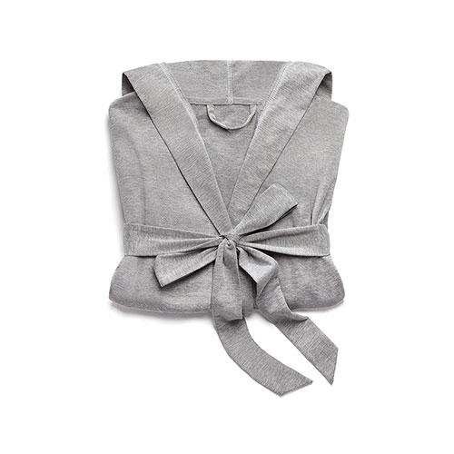 Saturday Hooded Lounge Robe Gray With White Stitching