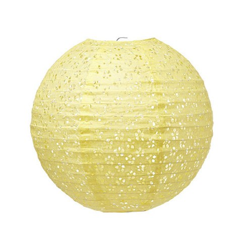Small Eyelet Paper Lantern Light Yellow