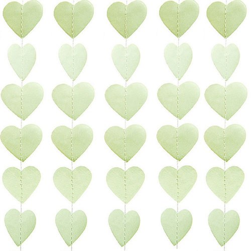 Mini Paper Heart Banner Sage