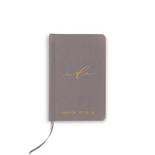 Personalized Charcoal Gray Vow Pocket Notebook – I Do