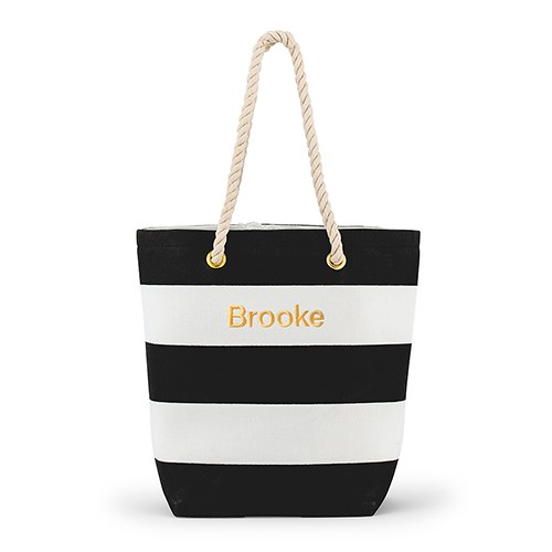 e570882d7 Personalized 'Bliss' Black and White Striped Tote - The Knot Shop