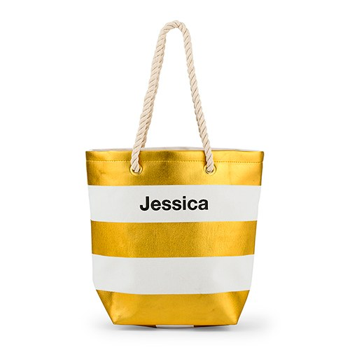 Bliss Striped Tote   Metallic Gold and White