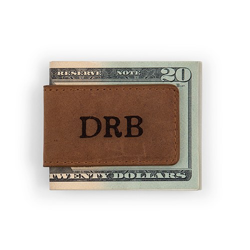 Tanned Genuine Leather Magnetic Money Clip   Personalized