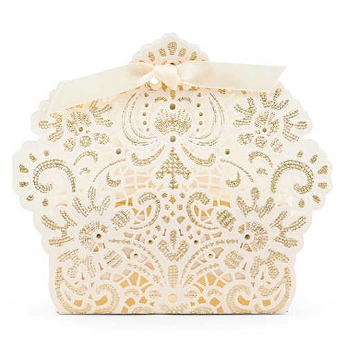 Luscious Foil Lace Favor Box with Ribbon