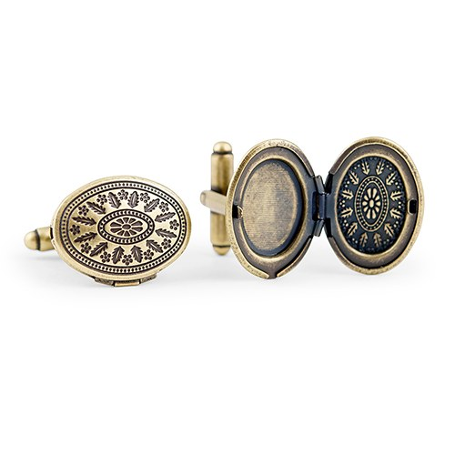 Love Locket Cufflinks Antique Gold