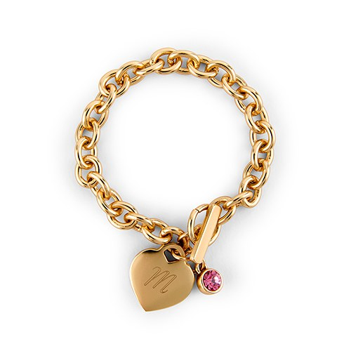 Matte Gold Toggle Charm Bracelet with Gemstone Charm