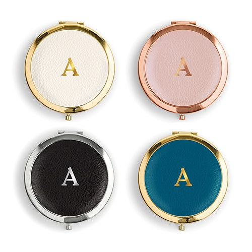 Faux Leather Compact Mirror Initial Monogram Emboss