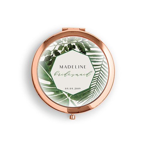 Personalized Engraved Bridal Party Pocket Compact Mirror - Tropical Greenery
