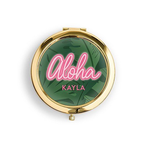 Personalized Engraved Bridal Party Compact Mirror - Aloha Palm Leaf