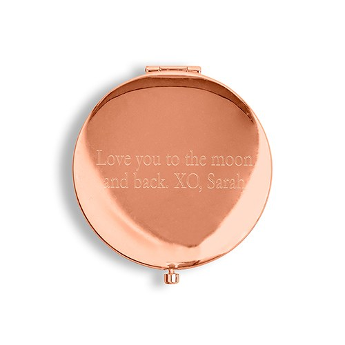 Personalized Engraved Bridal Party Pocket Compact Mirror - Retro Luxe Blush