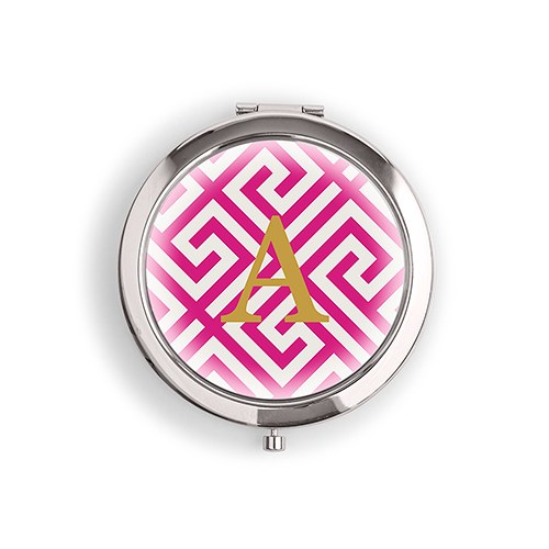 Designer Compact Mirror Monogram on Greek Key Print