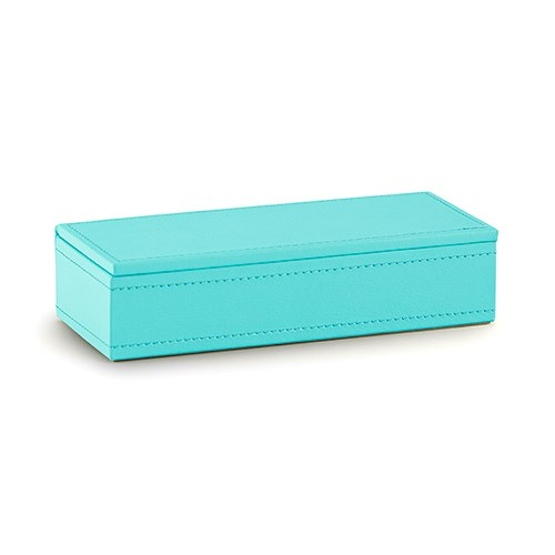 Vegan Leather Jewelry Box Spa Blue with White