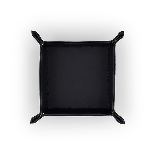 Vegan Leather Jewelry Tray– Small Solid Black