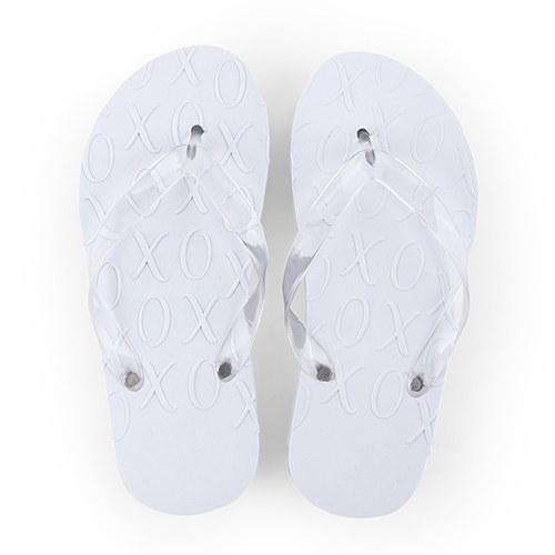 d65befcb607d White XO Embossed Wedding Flip-Flops - The Knot Shop
