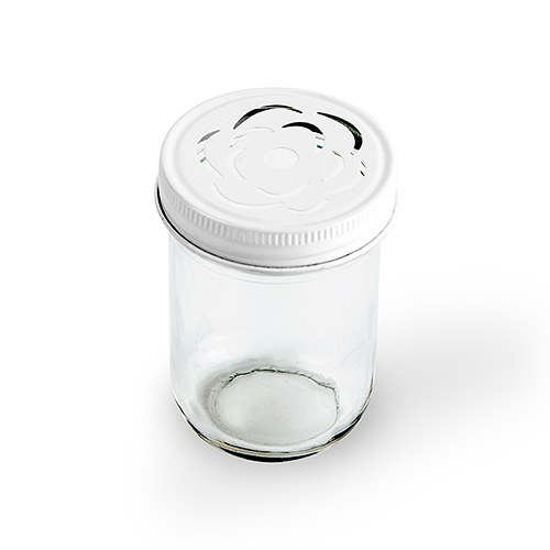 Glass Mason Jar with Rose Cut in White Lid   Printed