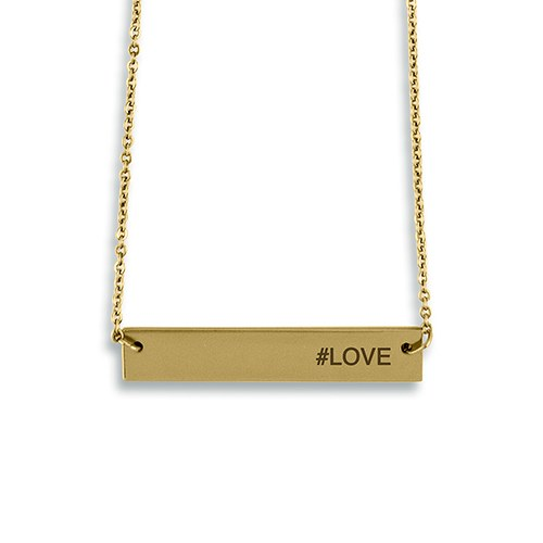 Horizontal Rectangle Tag Necklace - Modern Sans Serif Font