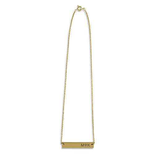 Personalized Gold Horizontal Tag Necklace – Monogram Heart Engraving
