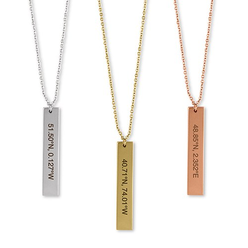 Personalized Vertical Tag Necklace – Coordinates Engraving
