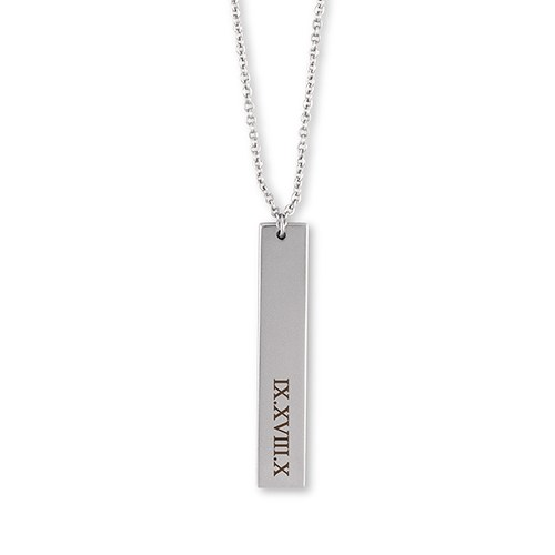 Personalized Vertical Tag Necklace – Roman Numerals Engraving