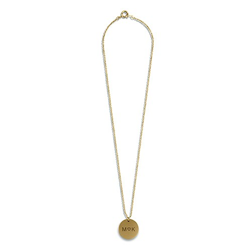 Personalized Gold Circular Tag Necklace – Monogram Heart Engraving