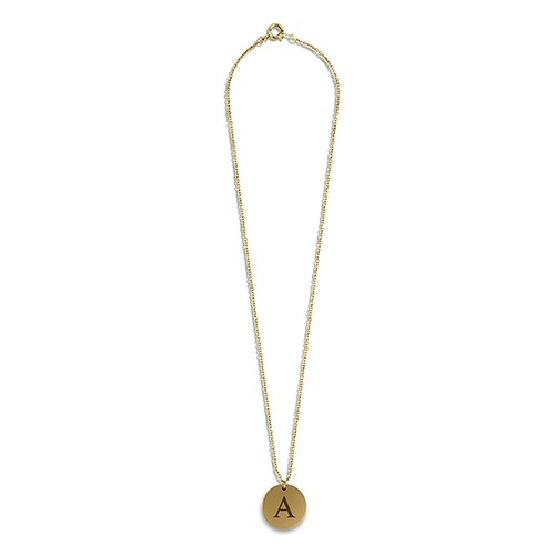 Personalized Gold Circular Tag Necklace – Classic Serif Font Monogram Initial Engraving