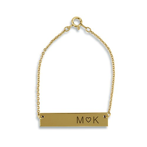Personalized Horizontal Tag Bracelet – Monogram Heart Engraving