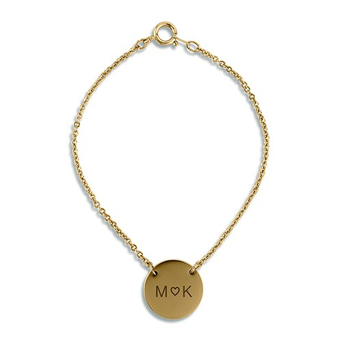 Personalized Circle Tag Bracelet – Monogram Heart Engraving