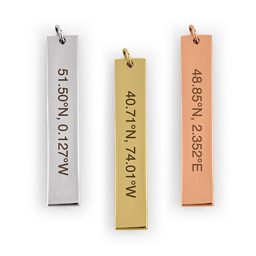 Personalized Vertical Tag Pendant – Coordinates Engraving