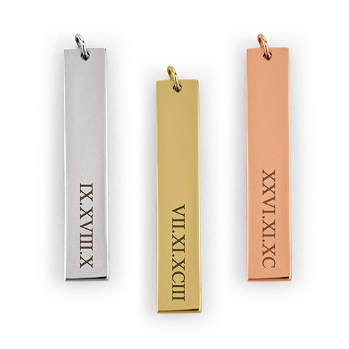 Personalized Vertical Tag Pendant – Roman Numerals Engraving