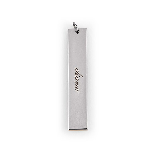 Personalized Vertical Tag Pendant – Script Font Engraving