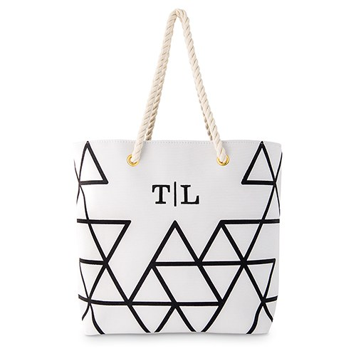 70292e3e21 Personalized Black on White Geo Prism Tote - The Knot Shop