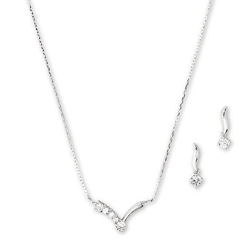 Silver Necklace and Earring Set – Crystal Chevron Pendant