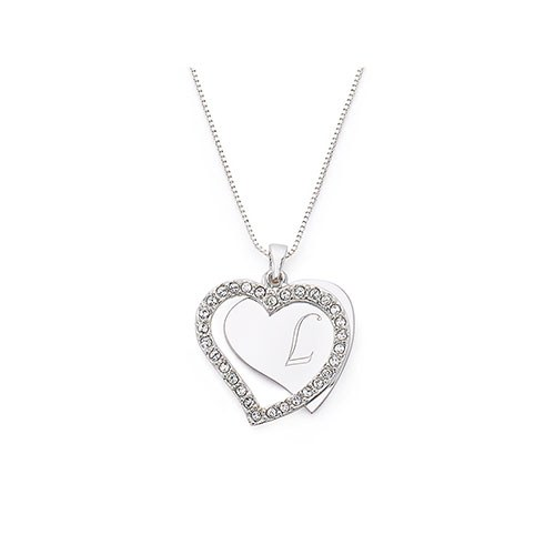 Personalized Silver Engraved Charm Necklace – Crystal Heart Frame