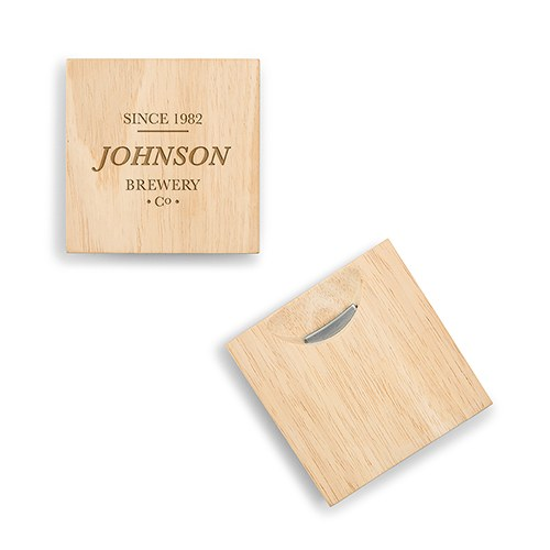 Natural Wood Coaster with Built-in Bottle Opener - Brewery Co. Etching