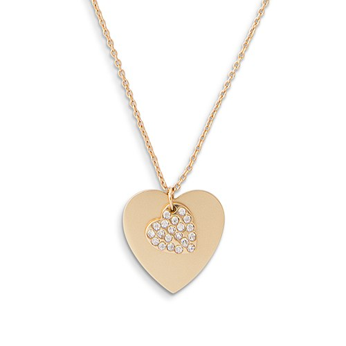 Personalized Gold Engraved Charm Necklace – Crystal Double Swing Heart