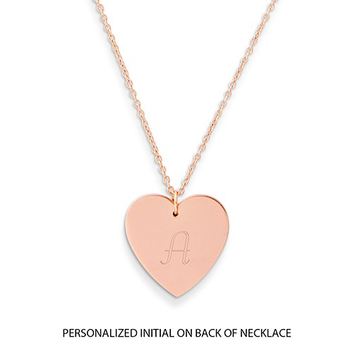 Personalized Rose Gold Engraved Charm Necklace – Crystal Double Swing Heart