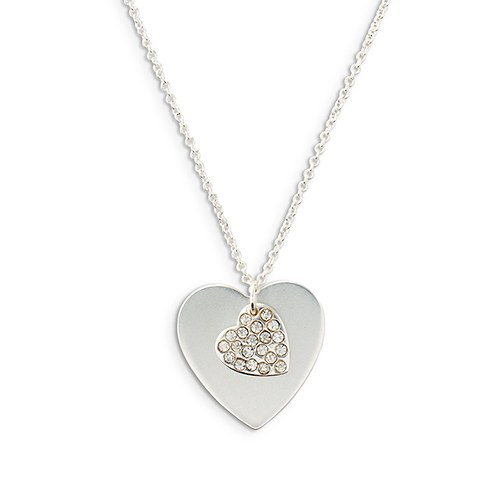 Personalized Silver Engraved Charm Necklace – Crystal Double Swing Heart