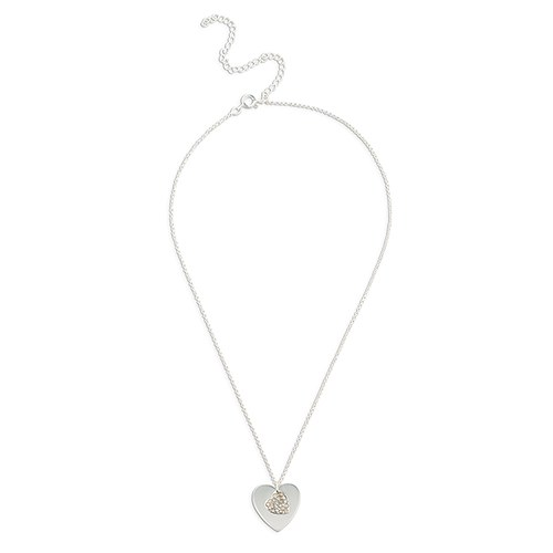 Crystal Double Swing Heart Necklace - Silver