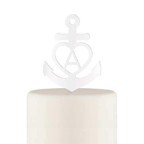Love Anchor Acrylic Cake Topper - White