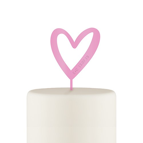 Personalized Mod Heart Acrylic Cake Topper - Dark Pink