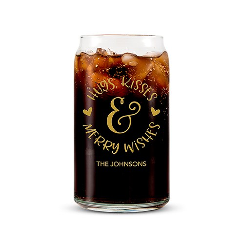 Personalized Can Shaped Drinking Glass – Hugs Kisses and Merry Wishes Print