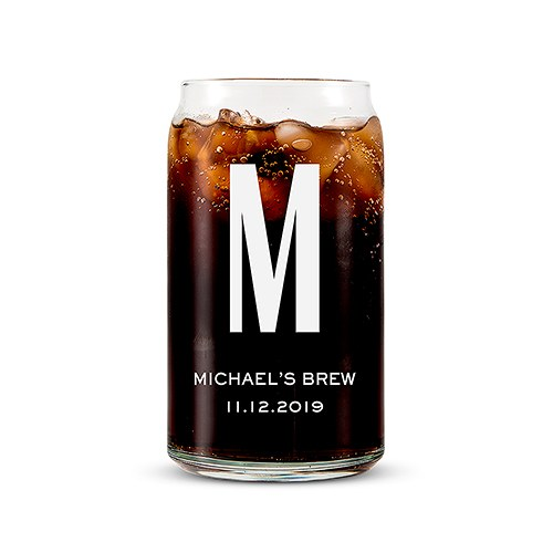 Personalized Can Shaped Drinking Glass – Monogram Print