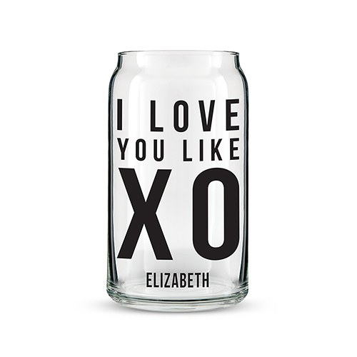 Personalized Can Shaped Drinking Glass – I Love You Like XO Print