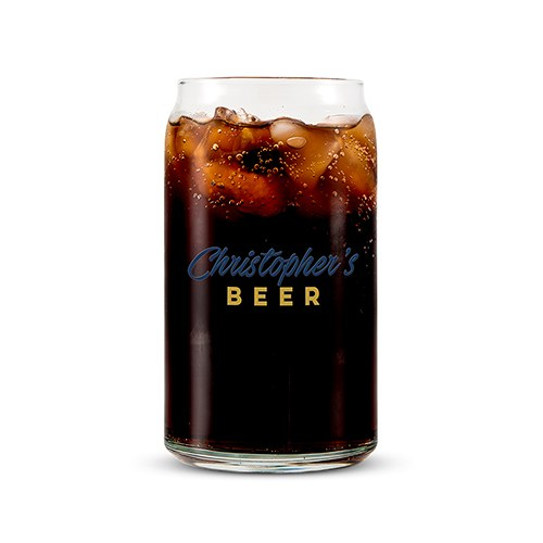 Personalized Can Shaped Drinking Glass – Casual Print