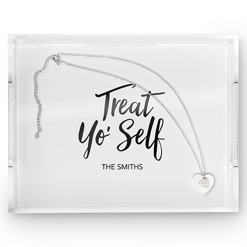 Rectangular Acrylic Tray - Treat Yo' Self Printing