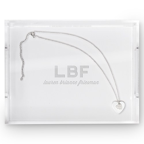 Small Personalized Rectangular Acrylic Tray- Bold Initials Engraving