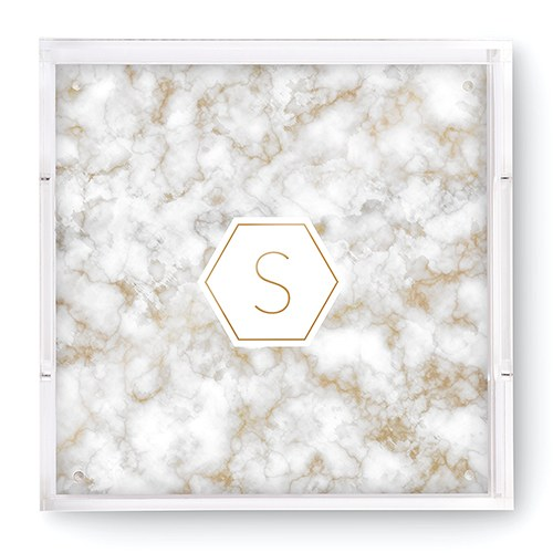 Small Personalized Square Acrylic Tray - Geo Marble Initial Foil Print