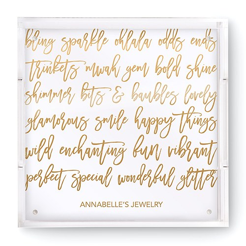 Small Personalized Square Acrylic Tray - Gold Happy Scribbles Foil Print