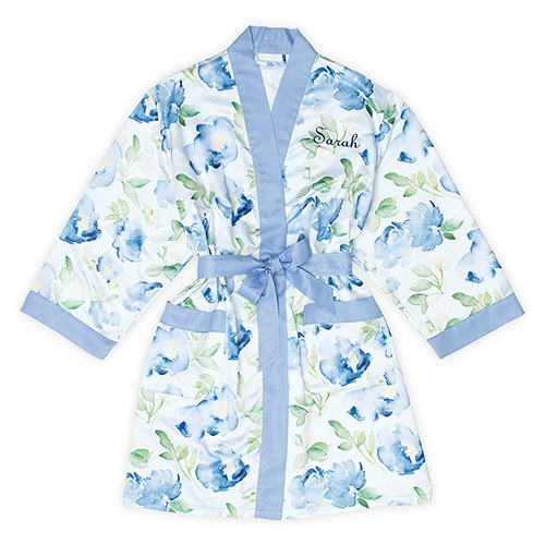 Women's Personalized Embroidered Floral Satin Robe with Pockets- Blue